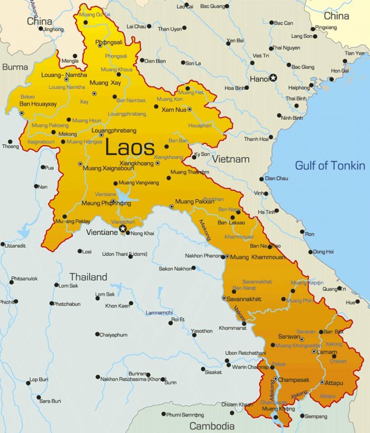 Kartta Laos Laosin Kartalla Etela Ita Aasia Aasia