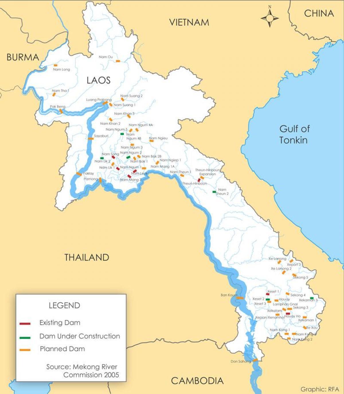 Laos Joen Kartta Kartta Paraguay Joen Etela Ita Aasia Aasia