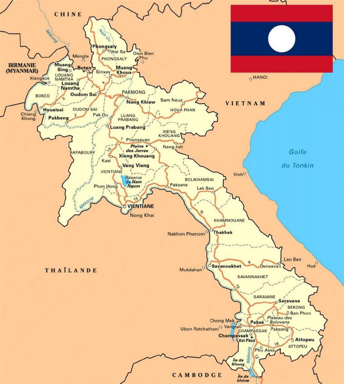 Laosin Kartta Yksityiskohtainen Kartta Laos Kaakkois Aasia Aasia